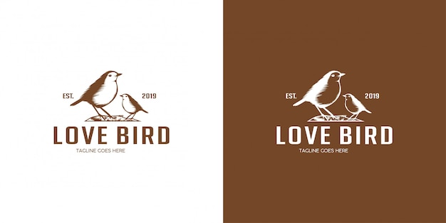 Lovebird logo ontwerp embleem, vintage, stempel, badge, logo vector sjabloon