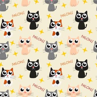 Lovely kitten naadloze patroon