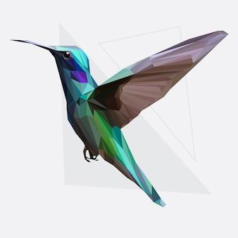 Lowpoly vector van hummingbird