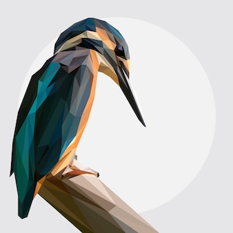Lowpoly vector van kingfisher bird