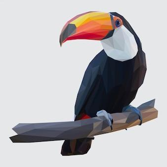 Lowpoly vector van toucan bird