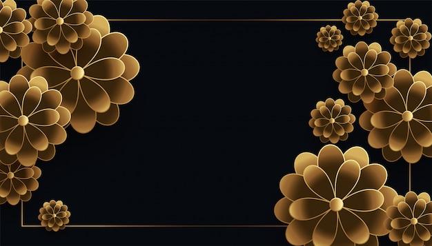 Loxury zwarte en gouden bloemenachtergrond met tekstruimte