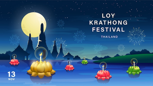 Loy krathong festival-achtergrond.
