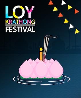 Loy krathong festival is een belangrijke viering van thaise mensen.