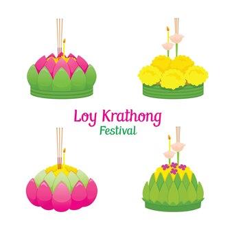 Loy krathong festival, set van krathongs, viering en cultuur van thailand