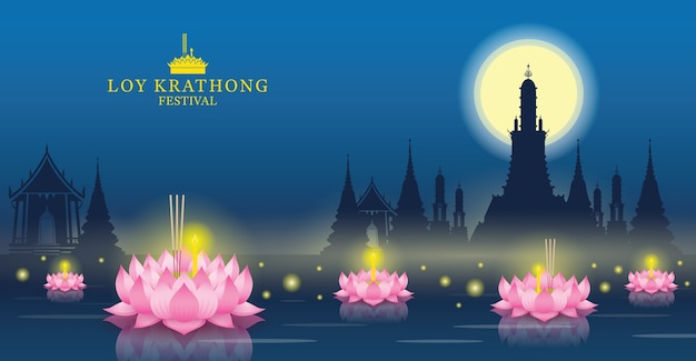 Loy krathong festival, tempel oriëntatiepunt skyline achtergrond