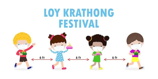 Loy krathong-festival voor nieuw normaal coronavirus of covid 19 met set van schattige thaise kinderkostuumkleding draagt gezichtsmasker en houdt krathong-viering en cultuur van thailand vector achtergrond