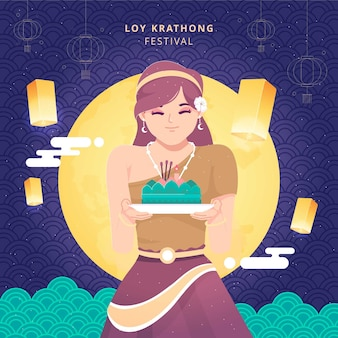Loy krathong festivalkaart