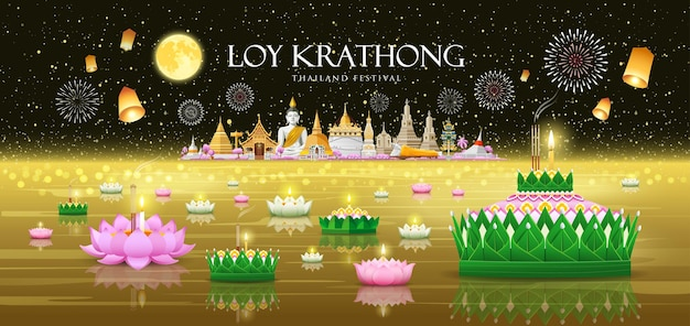 Loy krathong thailand festival bananenbladmateriaal en roze groen lotusontwerp