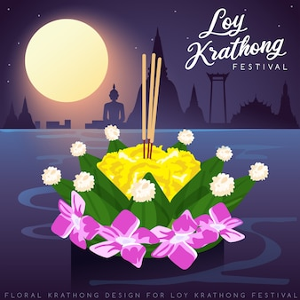 Loy krathong, thais traditioneel festival met volle maan, pagode en tempelachtergrond