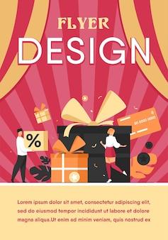 Loyaliteitsprogramma concept. mensen krijgen cadeaus en beloningen uit de winkel, bonuspunten, korting. platte sjabloon folder