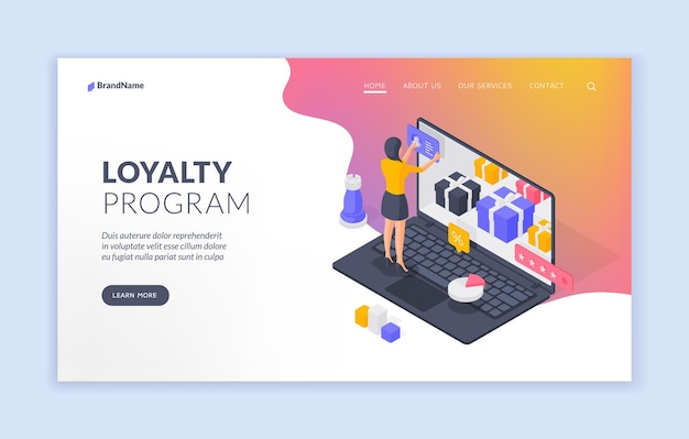 Loyaliteitsprogramma website sjabloon voor spandoek