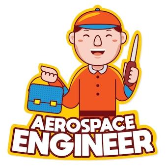 Lucht- en ruimtevaartingenieur beroep mascotte logo vector in cartoon-stijl