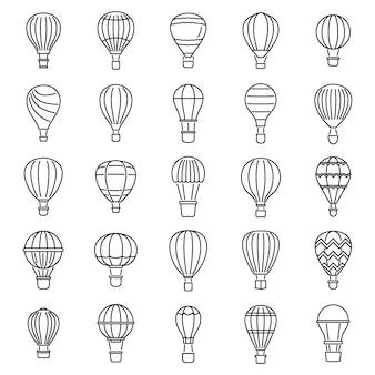 Lucht lucht ballon pictogrammen instellen