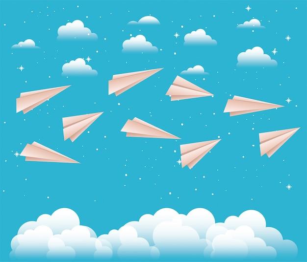 Lucht met papieren vliegtuigen