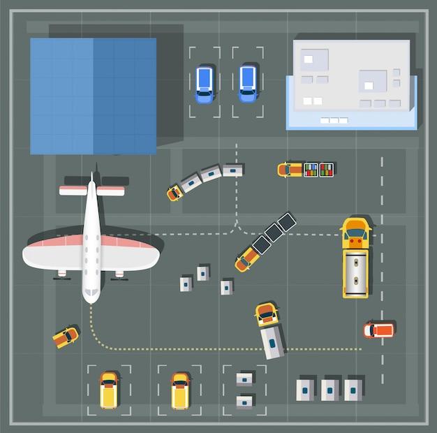Lucht standpuntluchthaven met alle gebouwen, vliegtuigen, voertuigen en luchthaven