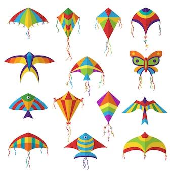 Lucht vlieger. gekleurde verschillende vormen vlieger in sky festival speelgoed voor kinderen vector collectie. vliegerspeelgoed in de lucht, festivalvliegspel, luchthobbyillustratie