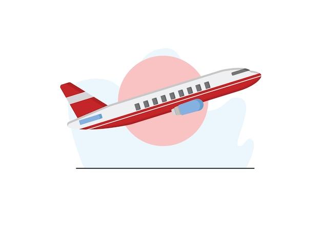 Lucht vliegtuig illustratie in vlakke stijl