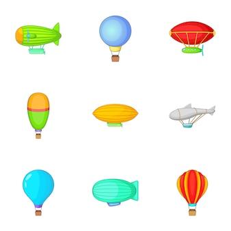 Luchtballon en luchtschip iconen set, cartoon stijl