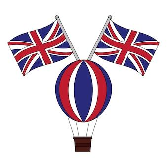 Luchtballon heet met vlaggen van groot-brittannië