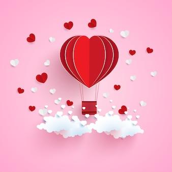 Luchtballon met hartvorm en papieren kunstontwerp