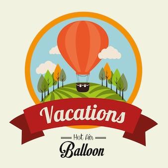 Luchtballon over beige vectorillustratie als achtergrond