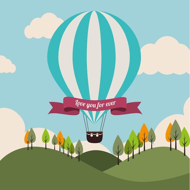 Luchtballon over landschaps vectorillustratie als achtergrond