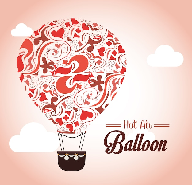 Luchtballon over roze vectorillustratie als achtergrond
