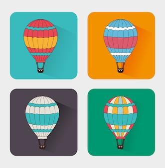 Luchtballon over witte vectorillustratie als achtergrond
