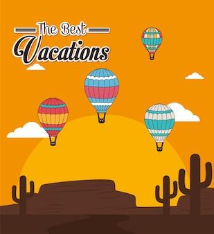 Luchtballon over zonneschijn vectorillustratie als achtergrond