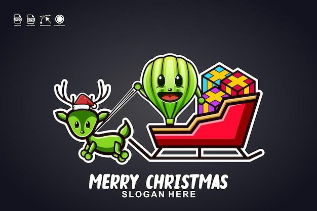 Luchtballon slee rit vrolijk kerstfeest schattig mascotte karakter logo ontwerp