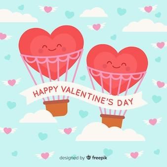 Luchtballon valentijnsdag achtergrond