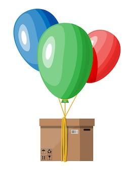 Luchtballonnen en kartonnen doospakket. bezorgdiensten en e-commerce. online internetwinkel en contactloos bezorgen. platte vectorillustratie