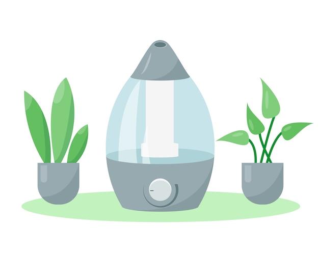Luchtbevochtiger of luchtbevochtiger en planten vector pictogram illustratie apparatuur voor thuis of op kantoor