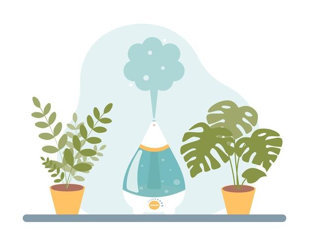 Luchtbevochtiger op tafel met kamerplanten vectorillustratie in een platte cartoonstijl