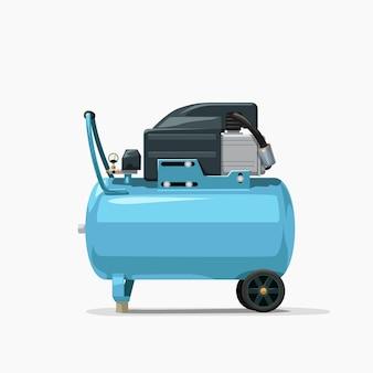 Luchtcompressor blauwe kleur zijaanzicht