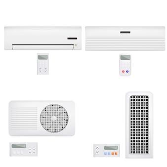 Luchtfilterventiel airconditioner op afstand. realistische illustratie van 4 airconditionerventilator verre externe modellen voor web