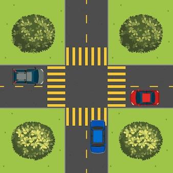 Luchtfoto van auto's op het kruispunt