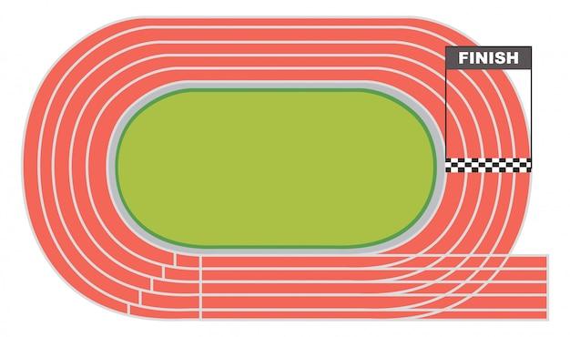 Luchtfoto van een atletiekbaan
