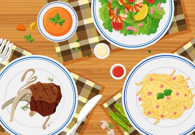 Luchtfoto van maaltijden