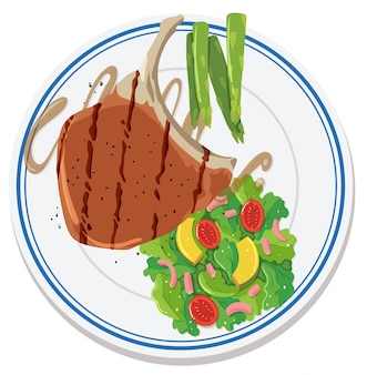 Luchtfoto van voedsel op plaat