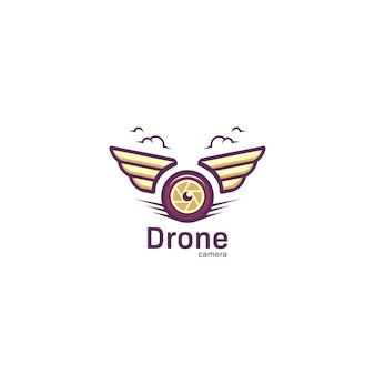 Luchtfotografie drone camera-logo met vleugel in cartoon vetgedrukte stijl