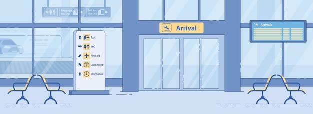 Luchthaven aankomst afrit, toegangspoort flat banner
