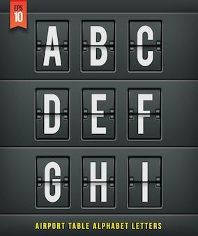 Luchthaven aankomst tabel alfabet. illlustration.