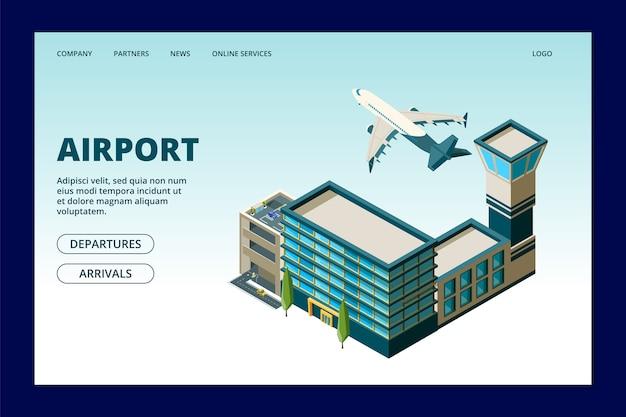 Luchthaven bestemmingspagina sjabloon. 3d luchthaventerminal en vliegende vliegtuigillustratie. 3d-terminal luchthaven webpagina met vliegtuig