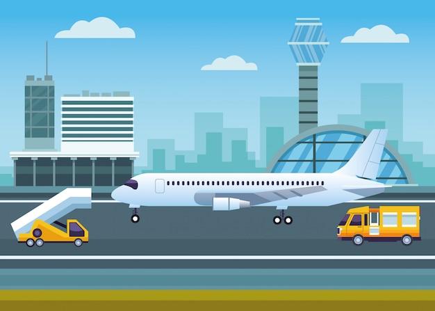 Luchthaven buiten met verkeerstoren en vliegtuig