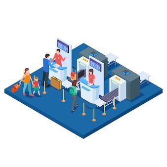Luchthaven check-in balie, passagiers en tassen isometrische concept