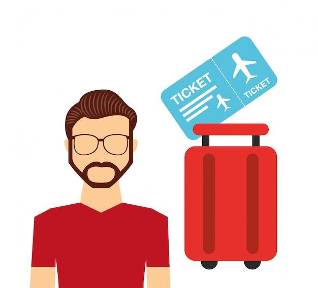 Luchthaven concept illustratie, man karakter met koffer en ticket