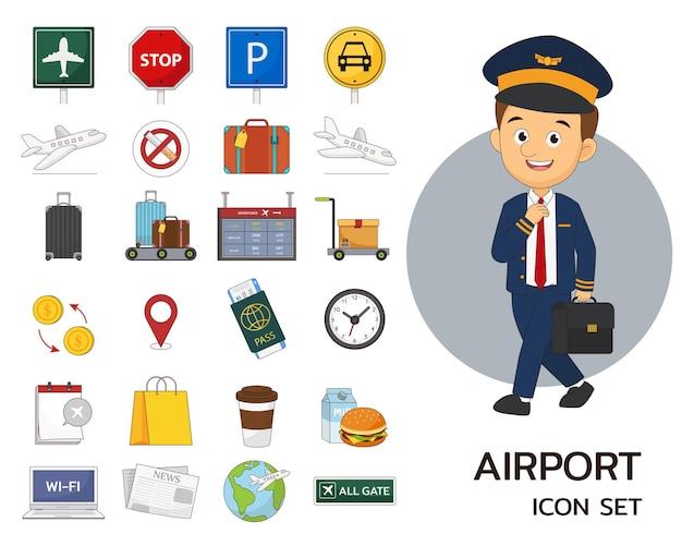 Luchthaven concept plat pictogrammen