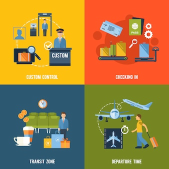 Luchthaven elementen samenstelling set